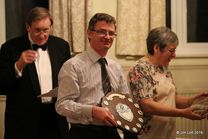 Jeremy Hawke receiving the Championship Class 1 (MG MMM class) along with the Kimber Trek trophy.
