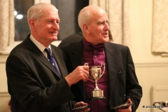 Steve Luscombe and Mike Cole, jointly recieving their trophy as they had the same time at Wiscombe Hill Climb.