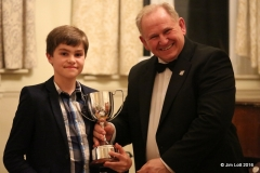 Oliver Lock recieving the Mike Hawke Trophy for the best you competitor of 2015.