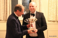 Ian Benningfield presenting the Luffield Speed Championship Novice Cup to Steve Collier.