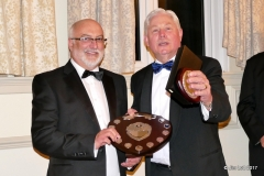 Julian White presenting Rob Orford with the Drivers Championship Class 4 shield and 3rd in class at Wiscombe Hill Climb