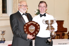 Julian White presenting Jeremy Hawke with the Drivers Championship Class 1 Shield and The Morgan Marshall Bowl - 2nd in class KImber Classic Trial, 1st overall MGs on Grass 2, Best MG, MGs on grass 2