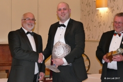 Julian White presenting Ian Beningfield with the Luffield trophy as the overall Champion.