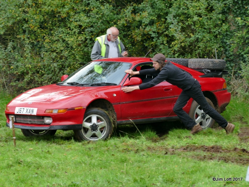 Richard Turner helping Peter Turner to get the MR2 to go back down the hill