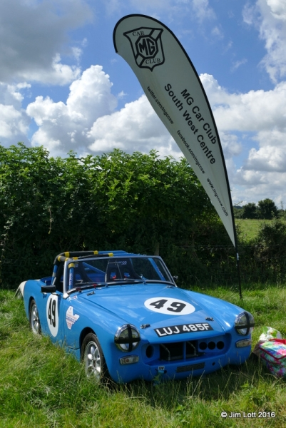The MGCC SW Centre flag flying over Nicky Dear's midget