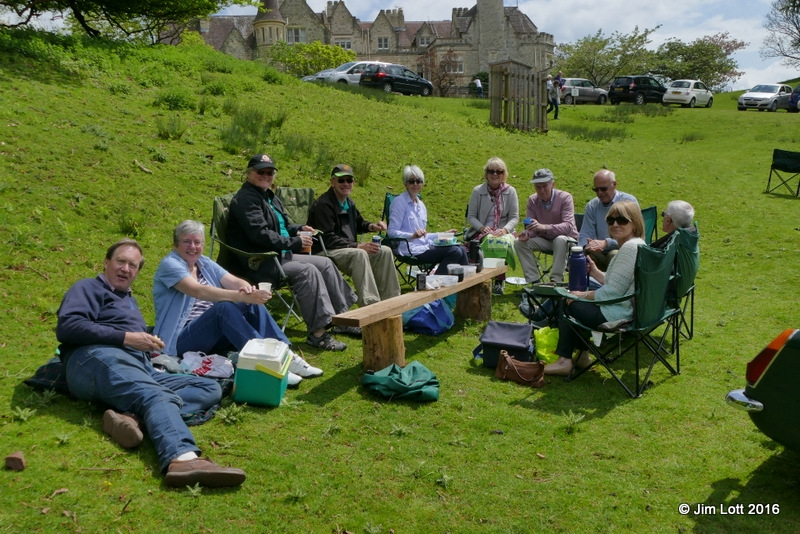 The picnic group, from left to right; Andrew and Sue Owst, Helen and Clive Holloway, Easter Kirkland, Jill and John Clay, edward Kirkland, David and Ann Jacobs