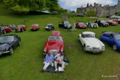 Mary Billington and Sue Jarvis picnicing in front of the MGA