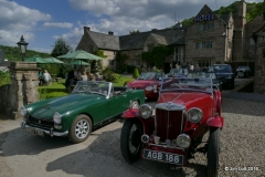 MGs lined up in front of the Old Court Hotel, Andrew and Sue Owst's Midget and Ray Moses' MG TA